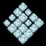 Ruitsamenstelling van glanzende diamanten wordt gemaakt die Stock Afbeeldingen
