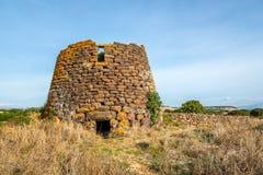 Ruiu在基亚拉蒙蒂附近的nuraghe废墟在撒丁岛 免版税库存图片