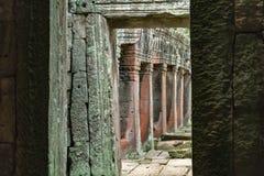 Rujnująca świątynna kolumnada obramiająca kręconym łukiem zdjęcia royalty free