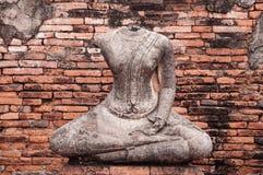 Rujnująca Buddha rzeźba Wat Chai Watthanaram, Ayutthaya, Tajlandzki fotografia royalty free