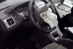 rujnujący airbag samochód zdjęcia royalty free