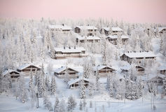 Ruka village, winter Finland Royalty Free Stock Photos