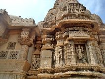 Rukmani mata mandir. RUKMANI MATA Temple,The exterior of the Rukmini Temple is richly carved. It has a panel of sculpted naratharas & x28;human figures& x29; and royalty free stock images