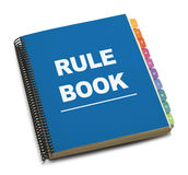 Rule Book. Large Spiral Bound Bule Rule Book with Tabs Isolated on White Background Stock Photo