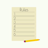 Rule list Royalty Free Stock Photo
