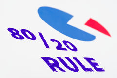 80/20 rule stamp with a pie graph, macro shot. Stock Images
