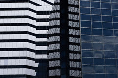 Rule of thirds. Urban architecture image of contrasting design lines, window sizes, and exterior color Stock Photography