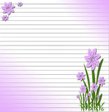 Ruled background with purple flowers Stock Images
