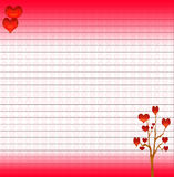 Ruled background with a tree of hearts Stock Photography