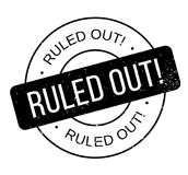 Ruled Out rubber stamp. Grunge design with dust scratches. Effects can be easily removed for a clean, crisp look. Color is easily changed Royalty Free Stock Photos