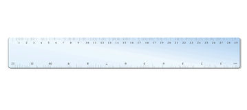 Ruler. A 30 cm ruler Plastic ruler Blue plastic ruler 12 inches 30 cm Transparent ruler Crafts Carpenter Equipment work Beautiful Materials Royalty Free Stock Photography