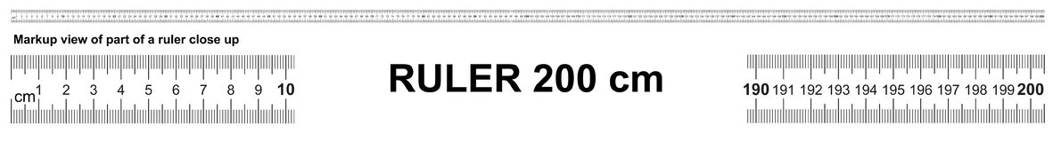 Free Ruler 200 Cm. Precise Measuring Tool. Ruler Scale 2,0 Meter. Ruler Grid 2000 Mm Royalty Free Stock Photography - 138120137