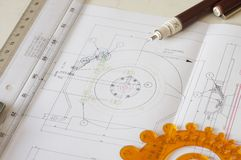 Ruler. Engineering drawing on drawing desk with rulers and pencil Royalty Free Stock Photography