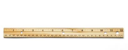 Ruler. Classic wood ruler isolated on a white background stock photos