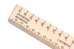 Ruler. Wooden ruler in metric measurements Stock Photography