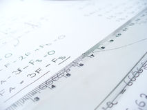 Ruler. Business work table with ruler macro Royalty Free Stock Photos