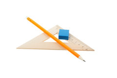 Ruler A Pencil And An Elastic Band Stock Images