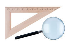 Ruler angle and magnifier isolated. Royalty Free Stock Photos
