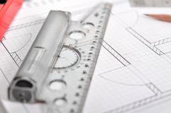 Ruler and apartment blueprint Royalty Free Stock Images