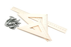 Ruler and black clips Stock Photos