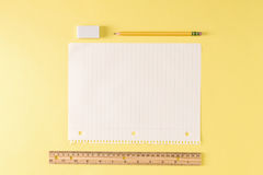 Ruler and a blank sheet of notebook paper Stock Image