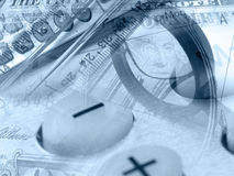 Ruler, calculator, magnifier and banknote Stock Photography