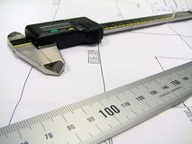 Ruler and caliper Royalty Free Stock Photo