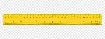 Ruler centimeter and inches double side scale stock illustration