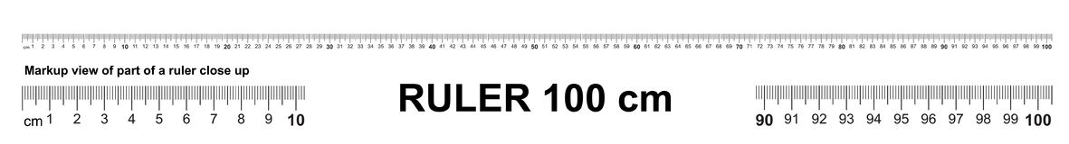 Ruler 100 cm. Precise measuring tool. Ruler scale 1 meter. Ruler grid 1000 mm. Metric centimeter size indicators.  royalty free illustration