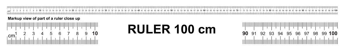 Ruler 100 cm. Precise measuring tool. Ruler scale 1 meter. Ruler grid 1000 mm. Metric centimeter size indicators.  stock illustration