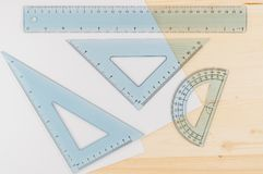 Ruler Combo Set and Paper. Ruler, Protractor, Triangle, Top View, Close Up. Concept, Copy Space royalty free stock image