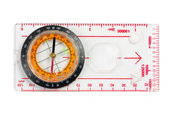 A ruler with compass isolated on a white background Stock Photos