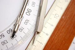 Ruler and compasses. In closeup Stock Photography