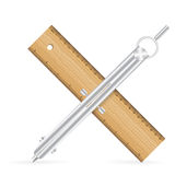 Ruler and drawing compass icon Stock Images