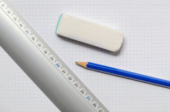 Ruler eraser and pencil Stock Photography