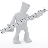 Ruler in hands. 3d character keep in heand ruler Royalty Free Illustration