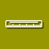 Ruler icon. Linear icon of ruler for use in logo or web design. Often used for back to school design, stationery stores. Modern vector illustration for web store Stock Photo