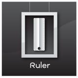 Ruler icon white black vector illustration background Stock Photos