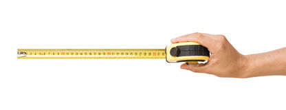 Ruler. Mans hand holding ruler, isolated royalty free stock image