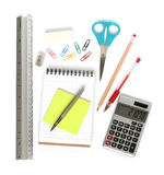 Ruler notepad scissors pen calculator Stock Photos