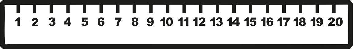 Ruler with numbers one to ten. Vector icon Royalty Free Stock Photo