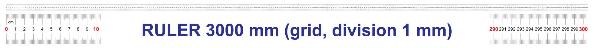 Free Ruler Of 3000 Millimeters. Ruler Of 300 Centimeters. Ruler Of 3 Meters. Calibration Grid. Value Division 1 Mm Stock Photos - 143403983