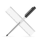 Ruler and pen Royalty Free Stock Photos