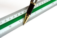 Ruler and pen. Drawing pen and ruler, used by architects and engineers Royalty Free Stock Image
