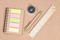 Ruler ,pen ,compass and booknote on table Royalty Free Stock Photos