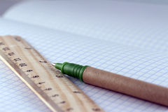 Ruler and pen Stock Images