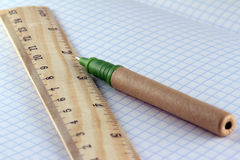Ruler and pen Stock Photo