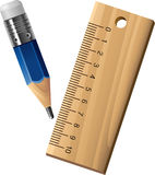Ruler and pencil Stock Photos
