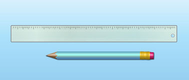 A ruler and a pencil. A detailed ruler and a pencil Stock Photos