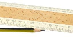 Ruler and pencil closeup Stock Images
